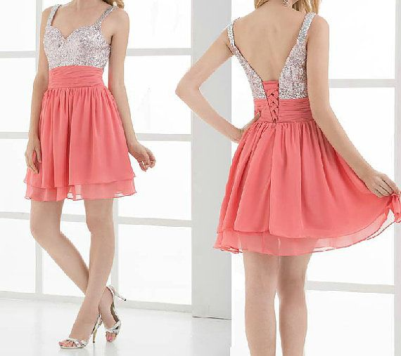 Mint Pink and Sequins Straps Sweetheart Chiffon Short Prom Dress, Knee Length Prom Dress on Etsy, $103.99