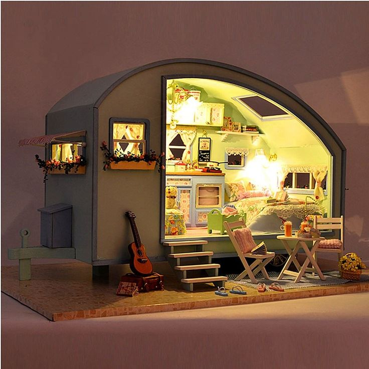 DIY Dollhouse Miniature Wooden Assembled With Voice-activated Light Music Handmade kits Building model Travel Caravan For Girls