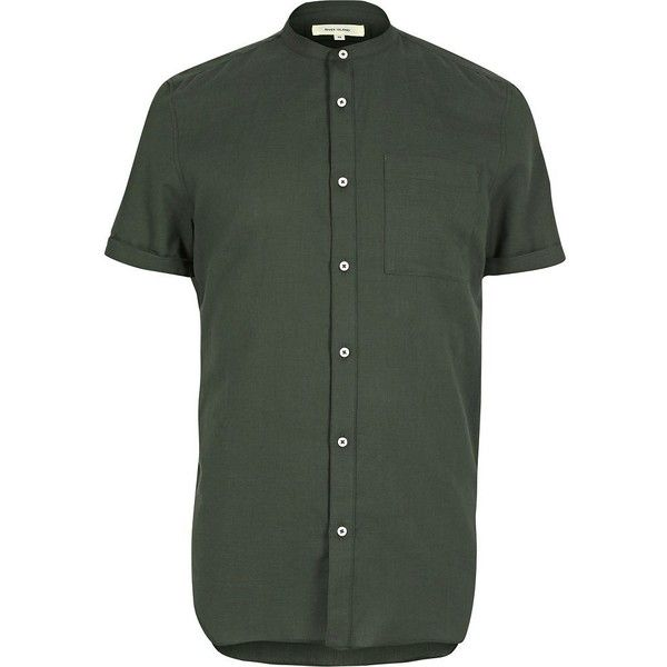 River Island Green casual short sleeve grandad shirt (£22) ❤ liked on Polyvore featuring men's fashion, men's clothing, men's shirts, men's casual shirts, shirts, mens grandad collar shirt, mens green shirt, mens waffle shirt, mens short sleeve shirts and mens casual short-sleeve button-down shirts