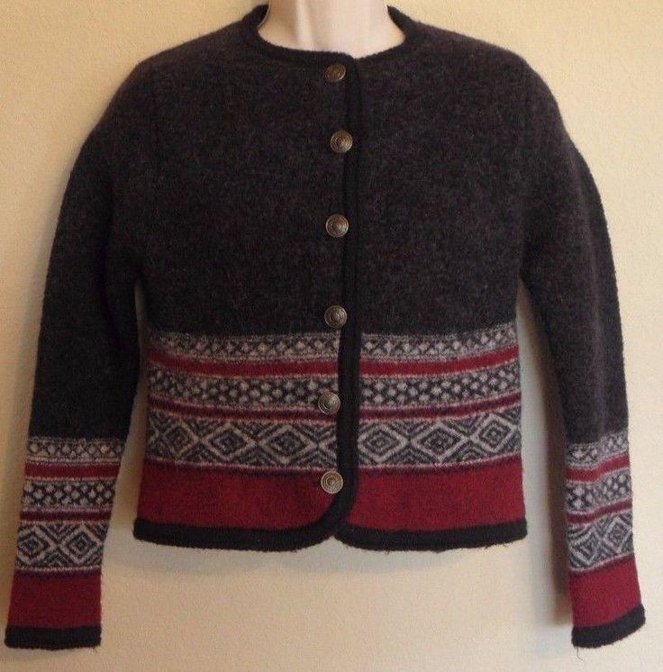 Vtg Tally Ho Sweater Jacket Black Boiled Wool Buttons Long Sleeves Small Medium #TallyHo #Cardigan