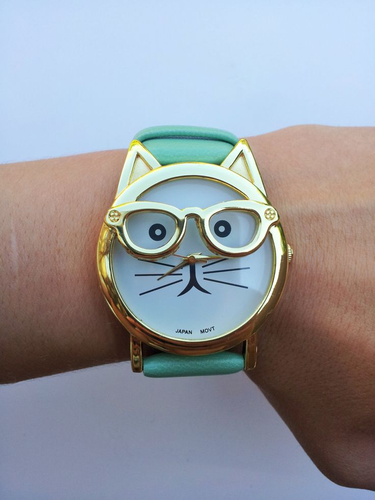Mint Green Cat Wrist Watch + Free Shipping - cat jewelry, kitten watch, womens watches, hipster watch, hipster cat, unique watches by FeathersandStars on Etsy