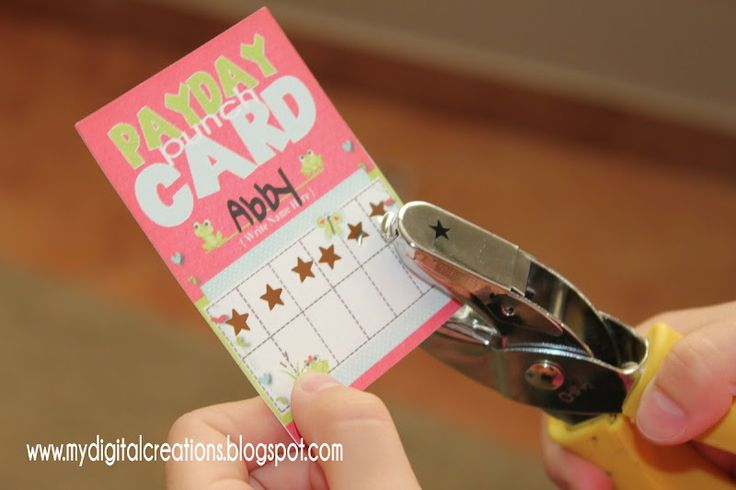 Payday Punch Card - Self managed chore system for kids! I've never had to do chores so IDK if I'm going to do this, but I just thought it was a cute idea.