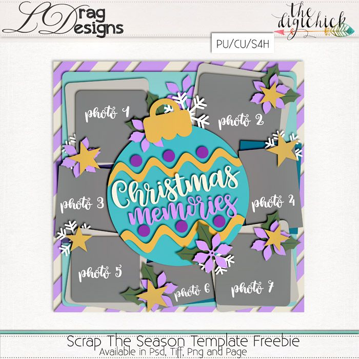Hello there ladies I am back this week with two amazing Christmas themed template sets!!!! Scrap The Season Templates Vol. 3 Scrap The Season Templates Vol. 4 Two sets of 4- 12×12 layered temp…