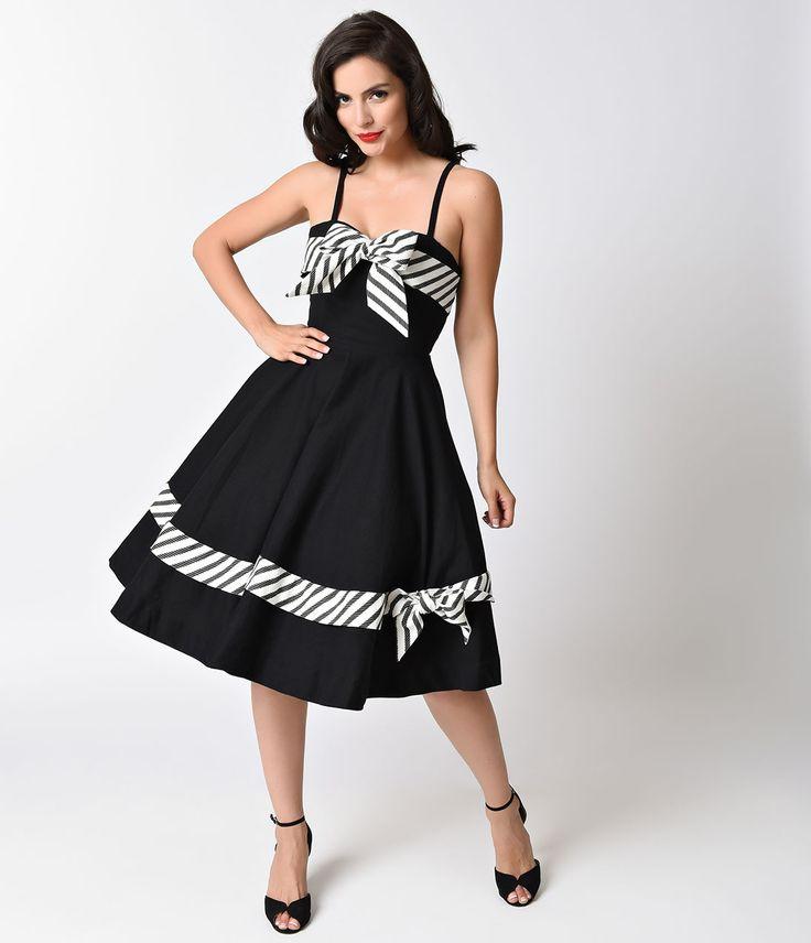 Preorder -  Unique Vintage 1950s Black  White Scarlett Swing Dress $98.00 AT vintagedancer.com