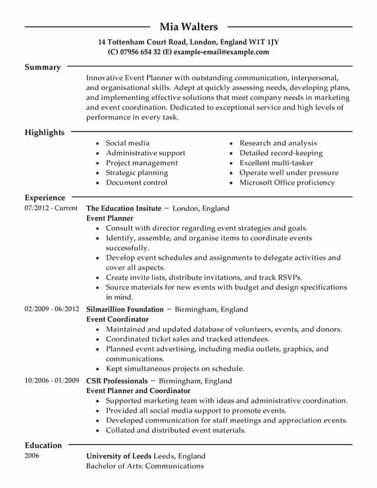Event Coordinator Job Description Resume Fresh event