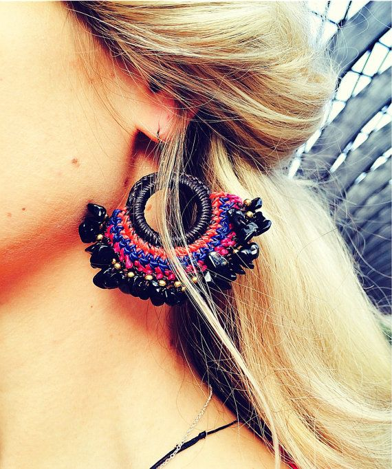 Agate multicolor earrings handcrafted от Monamibijoux на Etsy