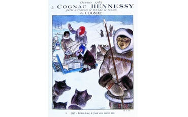 True to the brand's adventurous personality, bottles of Hennessy 3-Star cognacs accompany the Paul-Emilie Victor expedition to the Arctic in 1949. // This pin is not intended to be seen by persons under the legal alcohol drinking/buying age in their country. Not to be seen in countries with restrictions on advertising on alcoholic beverages. Drink Hennessy responsibly.