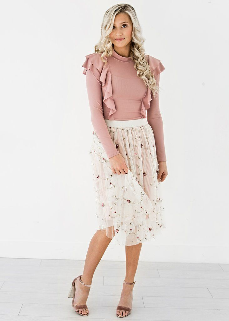 Valentines Day Gifts For Her, JessaKae, Pink Shoulder Ruffle Top, Pinstripes And Floral Skirt, Pink