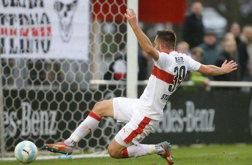 Pascal Breier vom VfB Stuttgart II verpasst eine Großchance. Foto: Pressefoto Baumann