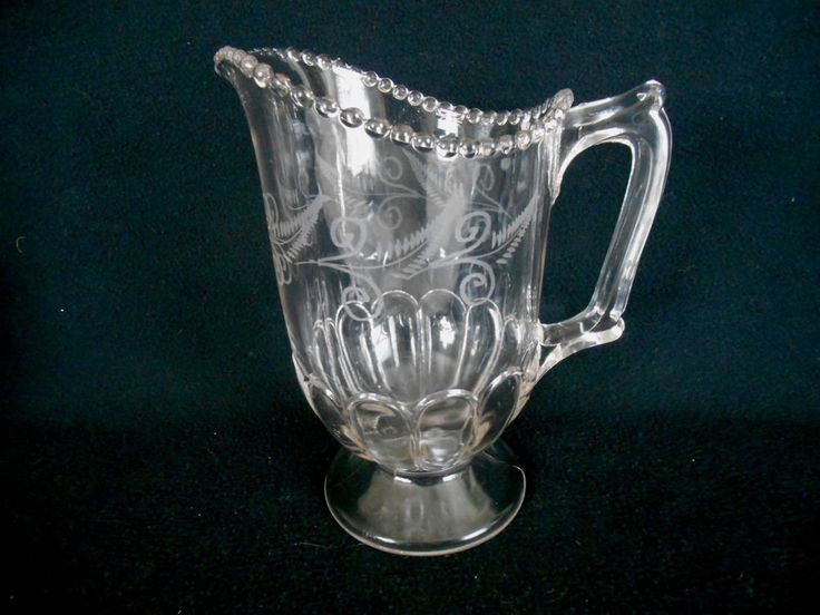 Antique PATTERN PRESSED GLASS FERN ETCHED PITCHER w/ BEADED BALL TOP RIM