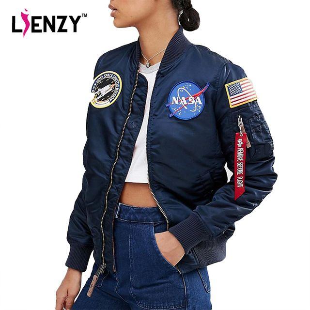 LIENZY НАСА Зимний Стиль Женщин Хлопка куртка Пальто Американский Флаг вышивка…