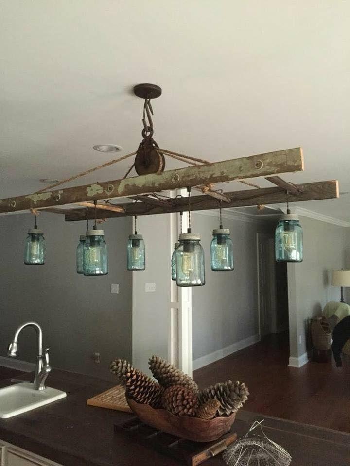 Mason Jar And Ladder Lighting Over A Kitchen Island