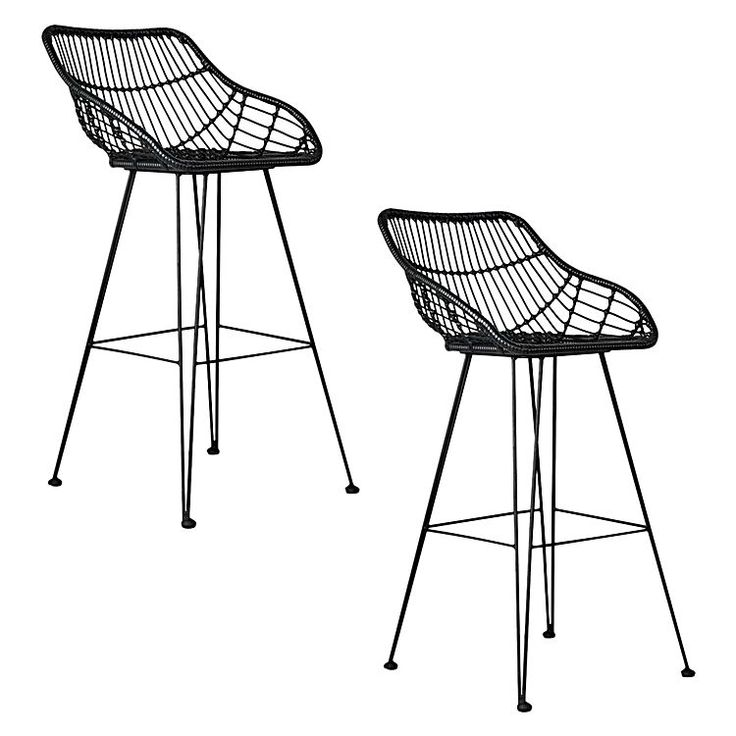 Channel a relaxed style in your space with the Juhana Rattan Bar Stool, Black (Set of 2) from Resort Living.