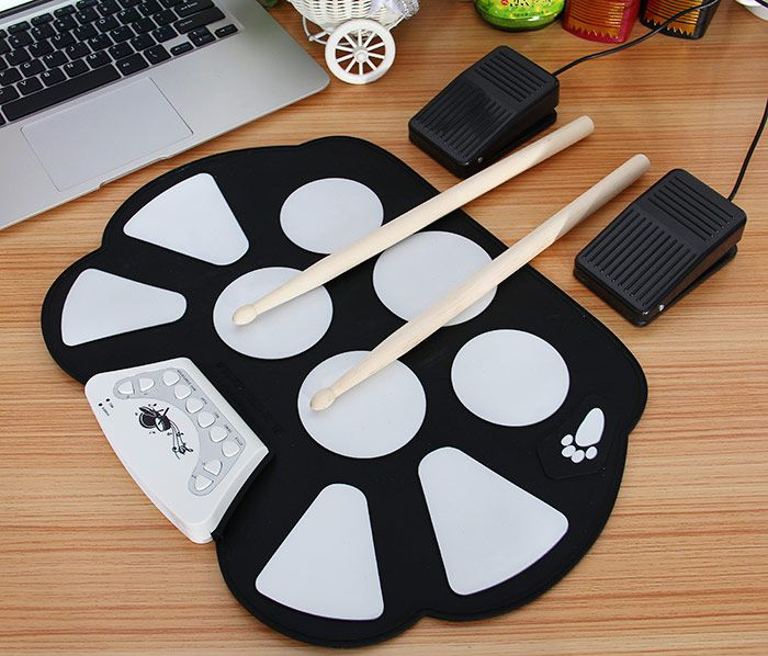 W758M USB Drum Kit PC Desktop Electronic Drum Pad with 2 Sticks Foot Pedals-34.23 and Free Shipping