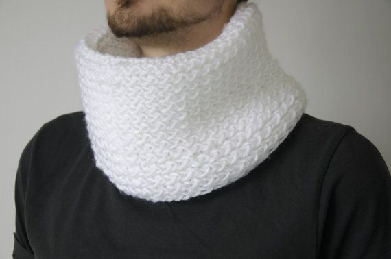 Hand knitted cowl infinity scarf wrap shawl men by KnittedRoots