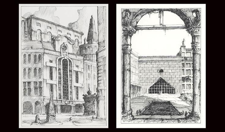Pablo Bronstein. Catalogue of post-modern London architecture.