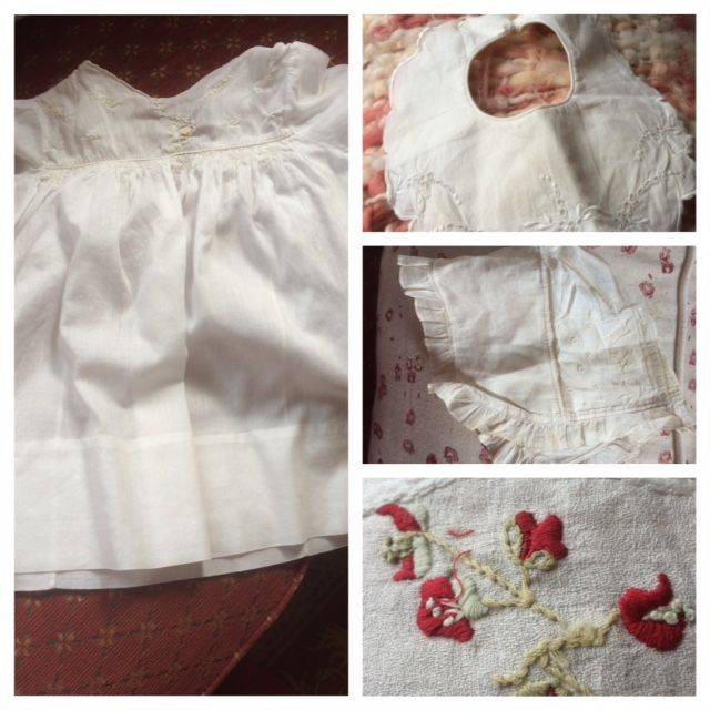 Antique baby clothes and embroidery gathered by me for my own interpretation of 'The threads of love'