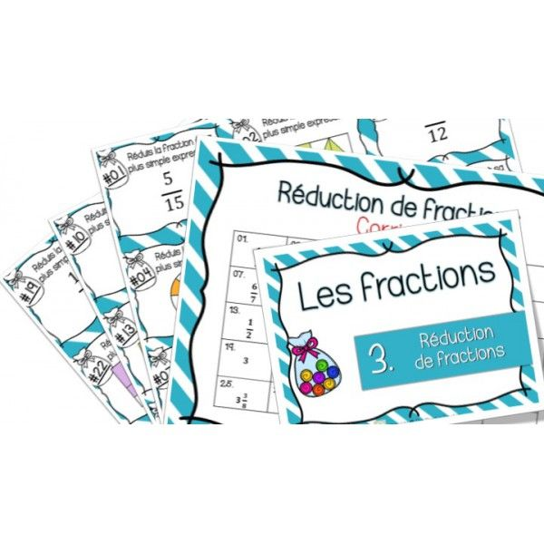 Réduction de fractions - Cartes à Tâches