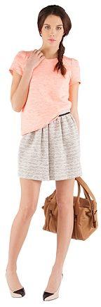 Comptoir des Cotonniers Blouse en tweed fluo rose et orange (soldée 75€)