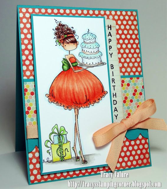 Copic card using the Stamping Bella - Ava Loves to Celebrate stamp.  Made by Tracy