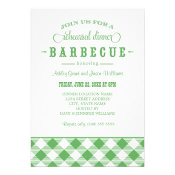 A festive and stylish wedding rehearsal dinner invitation for a casual backyard BBQ event. Green and white design colors. Additional colors below: #summer #gingham #wedding #rehearsal #dinner #barbecue #barbeque #bbq #casual #theme #plaid #fun #checkered #tablecloth #outdoor #cookout #rustic #southern #western #green #white