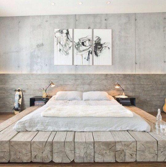 Wood beam platform bed
