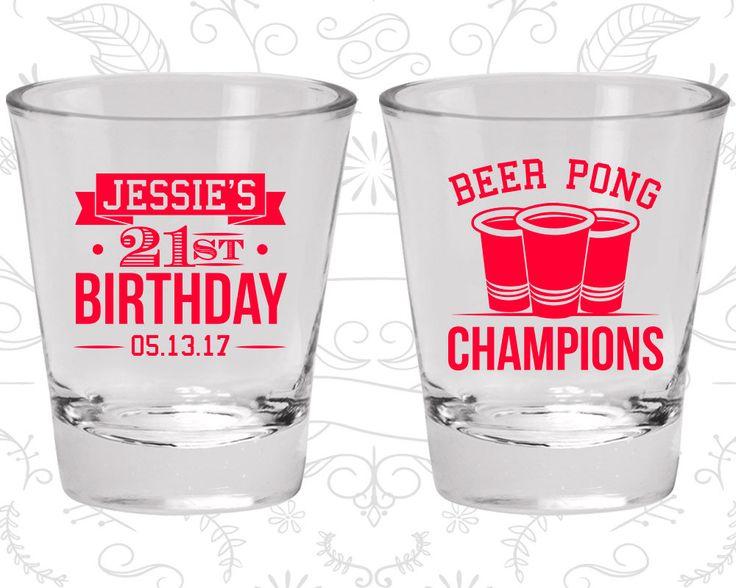 21st Birthday Shot Glass, Beer Pong Birthday Shot Glass, Finally Legal, Birthday Shot Glass, Birthday Glass (20186)