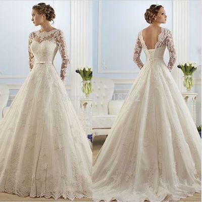 White/ivory Lace Long Sleeve Wedding dress Bridal Gown custom size 6-8-10-12-14+