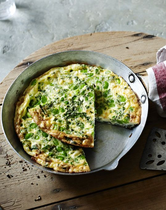 Fresh broad beans, feta and mint make this light fritatta ideal for lunch