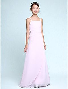 Lanting+Bride®+Floor-length+Chiffon+Junior+Bridesmaid+Dress+Sheath+/+Column+Spaghetti+Straps+Natural+with+Ruffles+/+Side+Draping+–+USD+$+145.00
