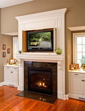 Tv over fireplace and Farmhouse fireplace