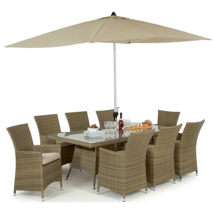 Maze Rattan's Tuscany LA 8 Seat Rectangular Garden Dining Set is an ideal set for the larger patio. With 8 highback LA chairs your guests will certainly dine in comfort. As with all of Maze's rattan sets, this can be left outside all year round as the rattan and the safety glass can be wiped down before use.