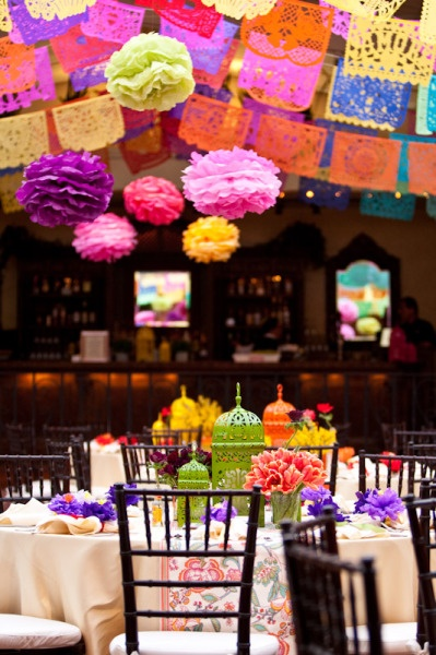 love love love the papel picado & paper flowers...the table settings are cute too