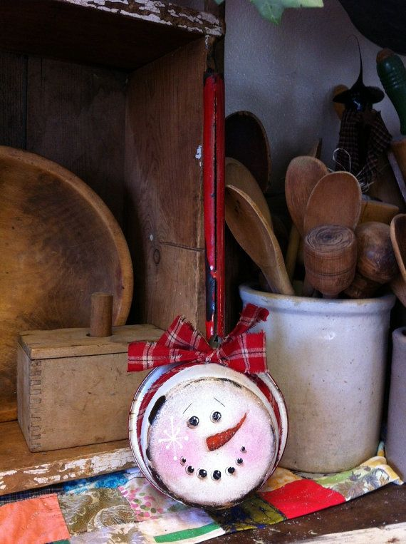 Old handpainted enamelware snowman pot by theantiquepallet on Etsy