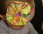 Skinny Hot pink Head Band with a fabric flower