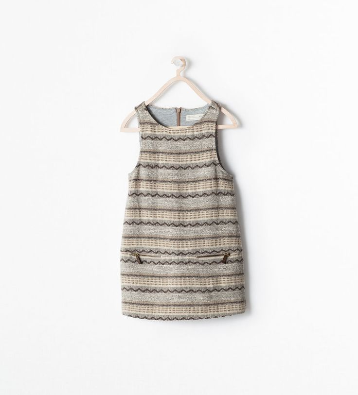 G DEFINITELY needs this. ZARA - KIDS - ZIPPED JACQUARD PINAFORE DRESS