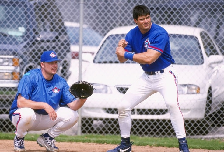 This is quite the duo. Former #BlueJays' Jose Canseco and Roger Clemens.
