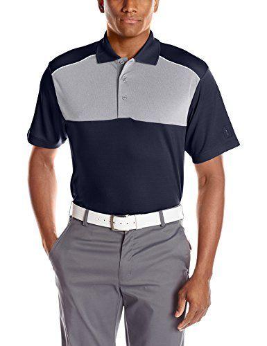 PGA TOUR Men's Golf Performance Air Flux Three Color Blocked Short Sleev Shirt, True Navy, X-Large