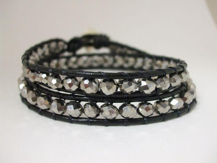 Leather Silver Metallic Double Wrap Bracelet Email uniquecreations@cogeco.ca for info