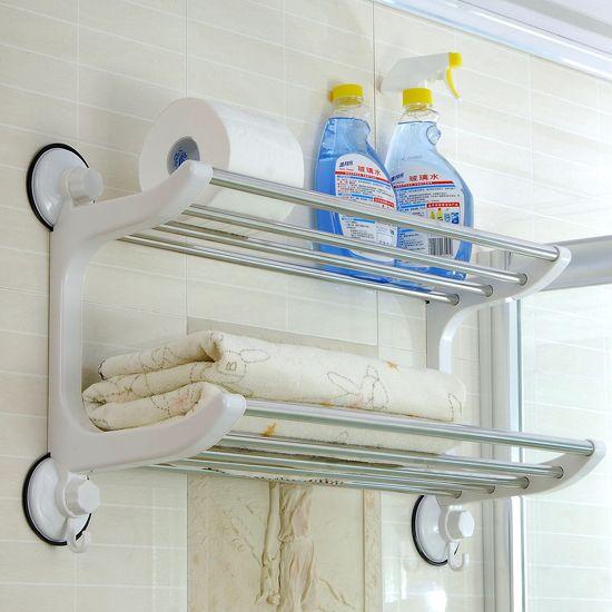 60 см двойной слой банное полотенце стойка нержавеющая сталь ванная стойка полотенце стойка чашка всасывания полка