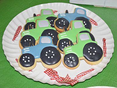 Galletas Tractor decoradas con glasa