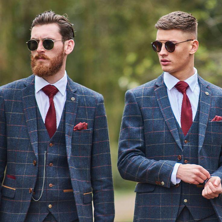 Wedding Groom Style Suit Check Navy Tie Red Blue Tie