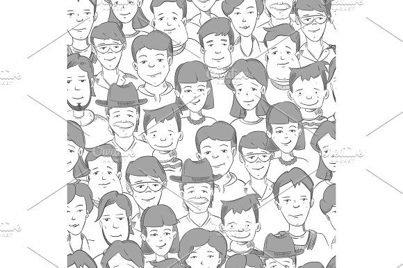 People crowd with many faces, human heads vector seamless background by MicroOne on @creativemarket