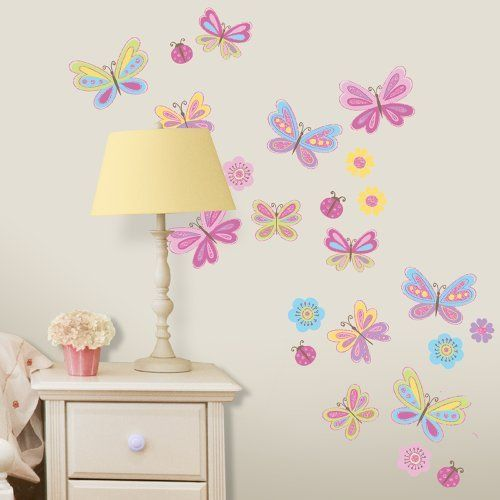 Butterflies Glitter Wall Decals by Lot 26 Studio, http://www.amazon.com/dp/B00937AII0/ref=cm_sw_r_pi_dp_0cf6rb125VJAJ