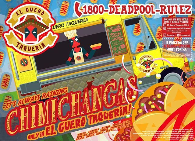 Is it because... Of his ❤️ for Mexican cuisine?🌯🌯🌯 #deadpool #marvel #photoshop #art #story  #graphic #infographic #vector #stylized #Chef #chefdeadpool #🌯 #chimichanga #taco #Mexican #elguero #callforkills #foodvoucher