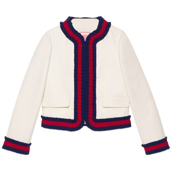 Gucci Silk-Cotton Jacket ($1,955) ❤ liked on Polyvore featuring outerwear, jackets, coats & jackets, cotton, ready to wear, women, white silk jacket, white jacket, gucci jacket and pleated jacket
