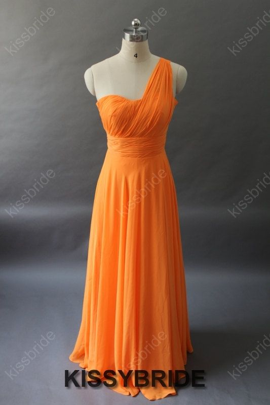 Orange bridesmaid dress  long bridesmaid dress / by KissyBride, $99.00