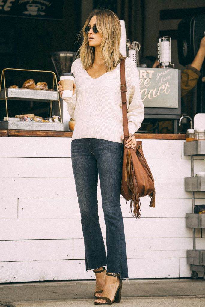 Free People Sweater | Frame 'Le Crop Mini Boot' Staggered Hem Crop Jeans (Topsail) | Steve Madden 'Carrson' Sandal