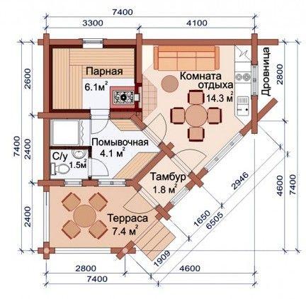 Проект бани-дома (рис. 59)