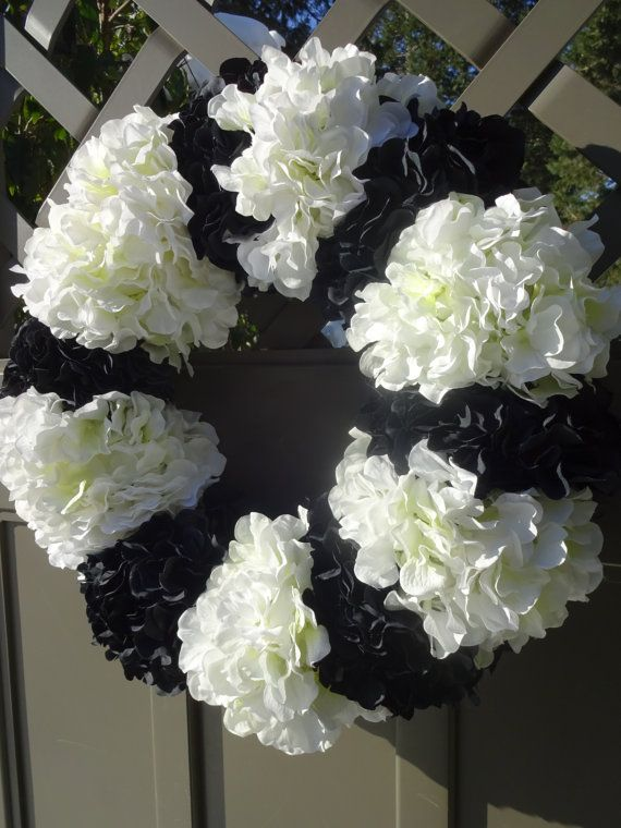 Hydrangea Wreath Black And White Wreath Wedding Wreath Elegant Wreath Faux Wreath Home Decor Door Wreath